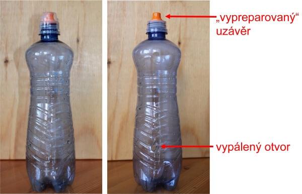 PET lahev - původní a upravená na proplachování nosu slanou vodou
